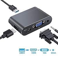 eSynic USB 转 VGA HDMI 适配器带蓝牙,USB 转 HDMI + VGA + 3.5 毫米插孔音频 1080P 视频双显示器带 3.5 毫米音频线兼容平板电脑/华为 P20/Mate 20 Pro/Samsung 三星 S8/S9 Note8/9