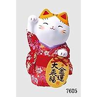锦彩绉绸小尺寸招财猫 大 多色 40×30×18cm 7605