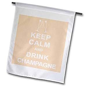 3dRose fl_193603_2 Keep Calm and Drink 香槟花园旗,45.72 x 68.58cm
