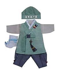 100天生韩国婴儿男孩韩步传统服装服装庆祝派对*套装