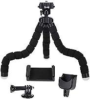Rollei Monkey Pod Set - 迷你三腳架帶柔性腿,包括球頭、智能手機、DJI Osmo Pocket 和動作相機支架,黑色27厘米高