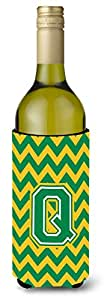 Caroline's Treasures CJ1059-QMUK Letter Q Chevron Green and Gold Michelob Ultra Koozie for slim Cans, Multicolor
