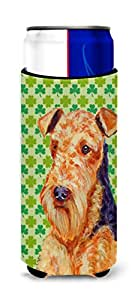 Airedale St. Patrick's Day Shamrock Portrait Michelob Ultra Koozies for slim cans LH9201MUK 多色 Slim
