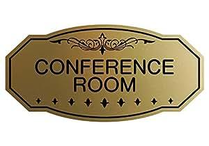 """Victorian 会议室门/墙标志 Medium 4"""" x 8"""" 拉丝金色"""