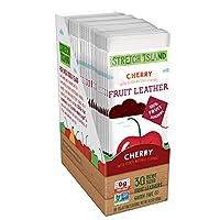 Stretch Island 樱桃原味水果皮零食 - 素食主义| 不含麸质| Non-GMO| 没有添加糖 -  0.5盎司/14克每条(30件)