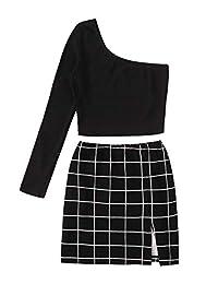 LYANER 女式 2 件套套装单肩长袖露脐上衣和格子短裙套装