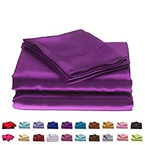 MOONLIGHT BEDDING 超丝滑柔软奢华缎面 4 件套床单套件 38.1 cm 深 紫色 Queen