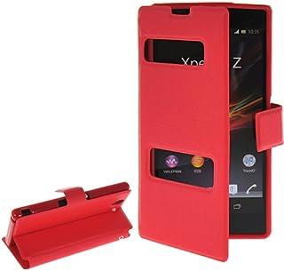 alsatek THEcoque PU-皮革窗户保护壳适用于 Xperia Z/L36h 红色