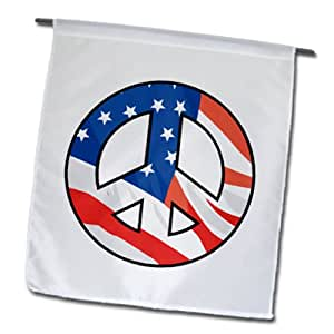 3dRose fl_150046_1 美国国旗和平标志 Usa Patriotic America 设计花园旗,30.48 x 45.72 cm