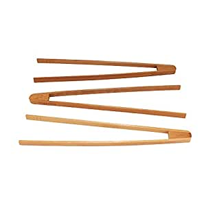 "BambooMN Brand - Reusable Bamboo Toast Tongs - Varies Sizes 7.9"" Inches"