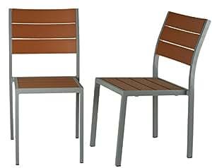 cortesi 家庭 Avery 铝制可叠加露台餐厅椅子–2件套 Silver/Teak Set of 2 Chairs