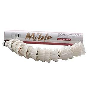 Mible 迈博 一级鹅弯毛 训练专用羽毛球 俱乐部训练球 12只装 桶装球 软木头 (一筒(12个装))