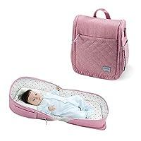 SUNVENO 可折叠婴儿床,旅行婴儿床新生儿换尿布台座椅俯卧时间折叠婴儿床幼儿园,适合 0-12 个月的宝宝 粉红色