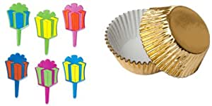 Dress MY cupcake hb-890set-std-foil-gold 标准金铝箔护垫 / 各色生日 presents pick 垫, CASE OF 144