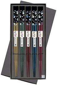 匠人筷子 防滑筷子 黑贴盒5双 银樱花
