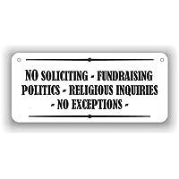 No Soliciting No Fundraising No religious Inquiries - 铝牌 - 10.16 厘米 x 22.86 厘米