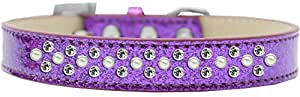 Mirage Pet Products 喷洒冰淇淋狗项圈,珍珠和透明水晶 紫色 Size 20