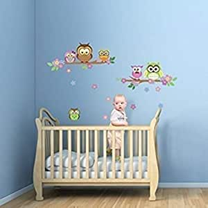 WalplusOwl 花卉树墙贴,家庭装饰,儿童卧室,室内家庭客厅,100 厘米 x 60 厘米,PVC,可移除,多色 混合 100 cm L X 60 cm W 4X-AEKI-Q866