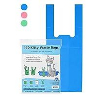 Kitty 垃圾袋,猫砂袋,配有简易领带提手,超大防漏,适合大尺寸勺子,蓝色婴儿粉,有香味,12.7 x 17.78 x 43.18 厘米