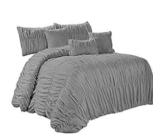 7 件玫瑰色时尚褶边褶皱加衬被套 象牙色 - 加大双人床尺寸 灰色 King AT-ROSALES-CF-7PC-GRAY