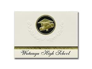 签名公告 Watauga 高中(男孩,NC)毕业公告,总统风格,25 个帽子基本包装和证书印章。 黑色和金色。