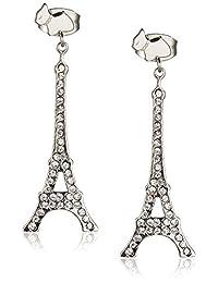 Agatha Paris 法国品牌 多层次银色埃菲尔铁塔钥匙 女士耳环饰品 银色