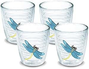 Tervis 隔热玻璃杯,带徽章,4 个装 - 盒装 透明 12oz DRGN-S-12-BLU