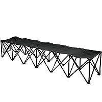 BenefitUSA 6 座椅侧线长椅便携式折叠球队运动长椅坐户外防水,黑色