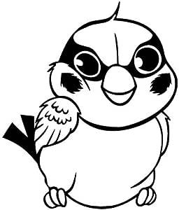 Sparrow Wink - 卡通贴花乙烯基贴纸适用于汽车、自行车、iPad、笔记本电脑、MacBook、头盔 黑色 12cm