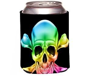"Rikki Knight ""Rainbow Glow Skull Design"" Beer Can Soda Drinks Cooler Koozie"