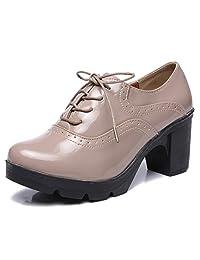 DADAWEN 女式经典 T 字形防水台中跟方头牛津鞋正装鞋 Apricot(lace Up) 9 M US