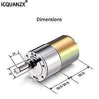 ICQUANZX 直流齿轮电机 12V 200R 高扭矩电动微速减速齿轮电机中心输出轴直径变速器