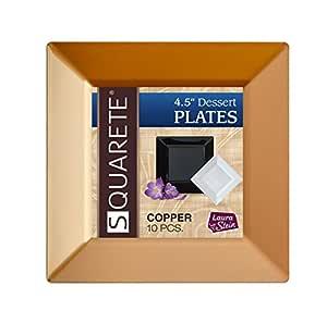 Squarete 11.43 cm 铜方形甜点盘硬塑料优雅一次性香甜盘,每包 10 个甜点盘子 LSSQ-P4-CP