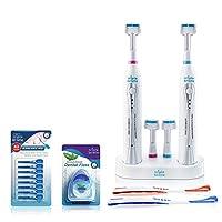 Triple Bristle Sonic Duo 電動牙刷 - 適合家庭和情侶 - 保持浴室柜臺清潔 - 2 個牙刷和雙充電支架 - 4 個刷頭