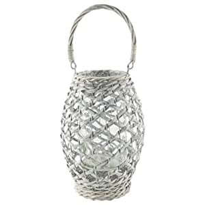 """Syndicate Sales 9"""" Willow Lant with 4"""" x 8"""" Glass, Peeled Whitewash"""