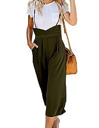 HZSONNE 女式休闲高腰工装细肩带飘逸连体裤 1 件阔腿裤喇叭裤