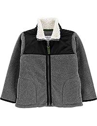 Carter's 卡特男童拉链抓绒夹克 (4T) 深灰色,黑色