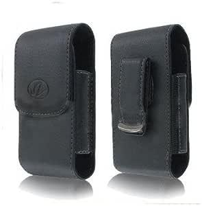 全新黑色垂直皮革搭扣带侧开保护壳适用于 SPRINT Apple iPhone 4S 4-S