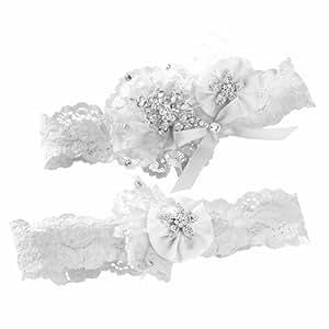 Ivy Lane Design Vintage Scatter Rhinestone Bridal Wedding Garter Set, Large, White