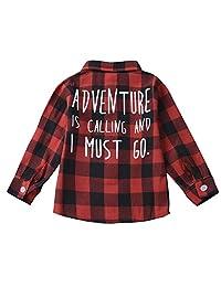 幼儿男童女童格子衬衫长袖红色棉质系扣上衣