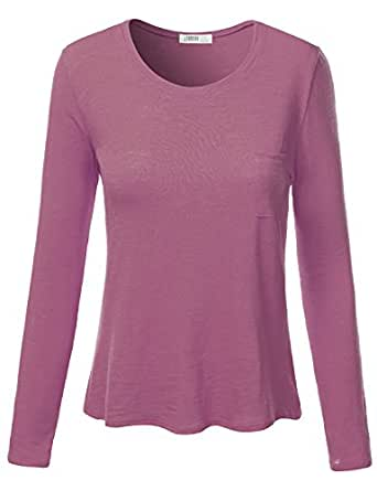 J.TOMSON Womens Plain Basic Cotton Spandex Long Sleeve T-Shirt  Awttl0144_lily X-Large