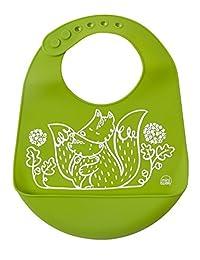 Mini-Twist, 100% Pure Silicone Baby Bucket Bib, Foxes