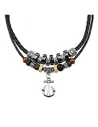 Gyand 复古风格吊坠魅力波西米亚项链带双层编织皮革大麻绳链