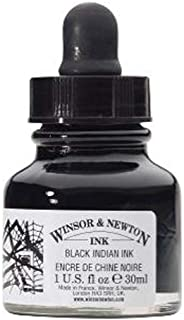 Winsor & Newton 1011030 Drawing Ink Bottle with Dropper Cap, 30ml, Black