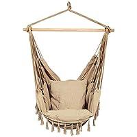 Caromy 吊床椅挂绳秋千座椅带 2 个靠垫秋千椅适用于庭院、卧室、露台、花园、室内、室外 咖啡色