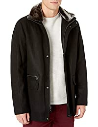 Calvin Klein 男士羊毛机车外套,人造毛领,黑色,中号