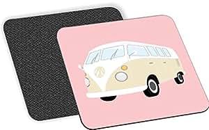 Rikki Knight 粉红野营车图案软方形啤*杯垫(2 件套),多色