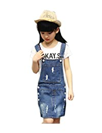 Sitmptol 大女孩破洞大背带牛仔裙连衣裙裙裙子连衣裙夏季套衫