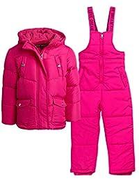 Steve Madden 女童重量级保暖滑雪夹克和雪围兜防雪服套装(婴儿/幼儿)