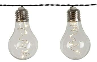 LED-Dura 派对灯串 5 x 10 个暖白色 LED 灯 黑色电线 明亮的球形灯泡 电池续航时间长 定时器 电池 户外使用